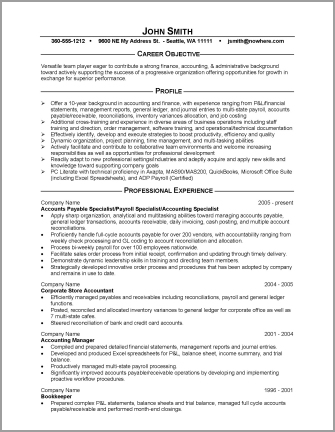 sample of an accounting resume - financial resume