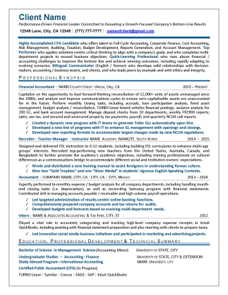 accounting resumes - examples of resumes written for finance and accounting